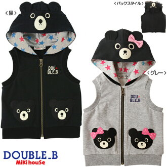 ☆ Double B ★ black bear hooded best (100.110)