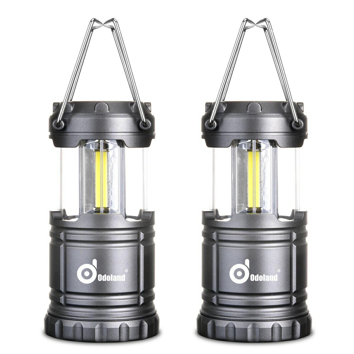 Odoland LEDキャンプランタン 最新のCOB LED採用 120ルーメン 電池式 携帯型 折りたたみ式 防水 キャンプ ハイキング 魚釣り 登山 エクスプローラー アウトドア 室内 停電 豪雨 防災緊急対策など適用