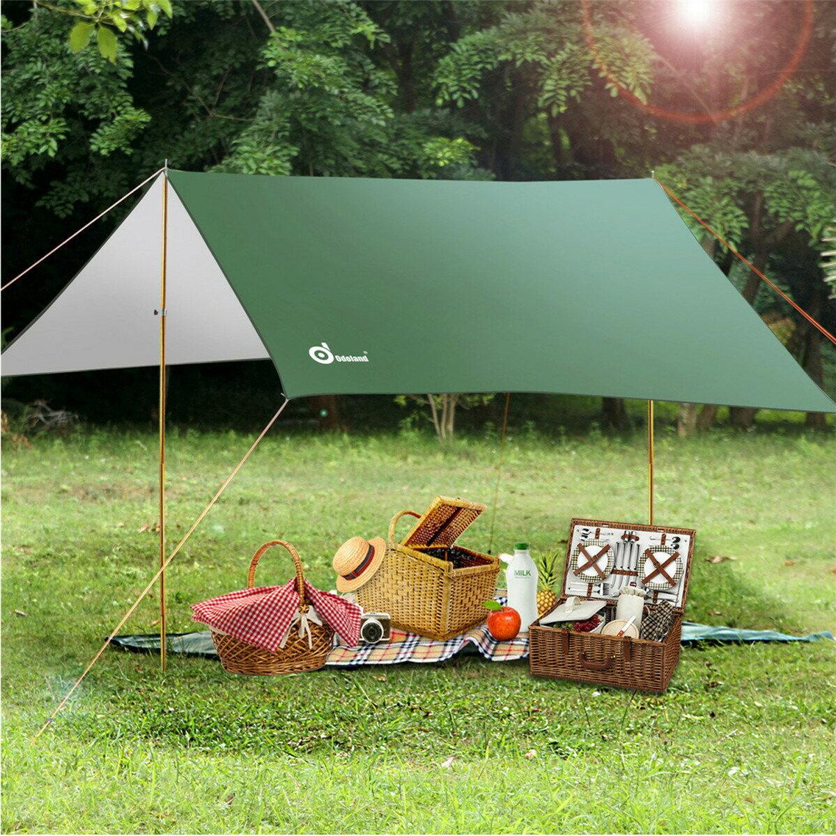 ODOLAND 高品質タープテント タープシェード+タープポール*2 クールシェード テント天幕  日焼け予防 防水 野営 キャンプ 旅行必需品 軽くてコンパクト 収納バック付き