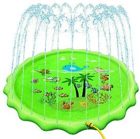 ODOLAND 噴水マット 噴水おもちゃ 噴水池 プレイマット ビニール プール 子供 キッズ 水遊 (グリーン 1.7M)