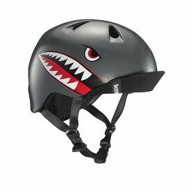 bern(バーン) ヘルメット【NINO(男の子) :Sサイズ/Mサイズ(51.5〜54.5cm) /サテン グレイ フライイング タイガー】 バイザー/ ストライダー 自転車 子供用 キッズ
