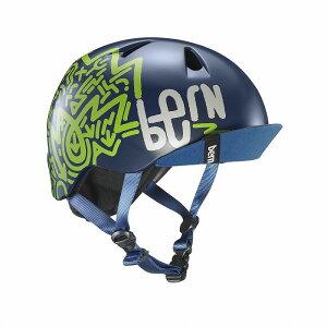bern(バーン) ヘルメット【NINO(男の子) :Sサイズ/Mサイズ(51.5〜54.5cm) /マットネイビー ジグ-ザグ】 バイザー/ ストライダー 自転車 子供用 キッズ