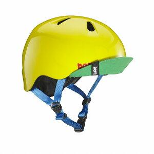 bern(バーン) ヘルメット【NINO(男の子) :XSサイズ/Sサイズ(48〜51.5cm) /グロス イエロー グリーン】 バイザー/ ストライダー 自転車 子供用 キッズ