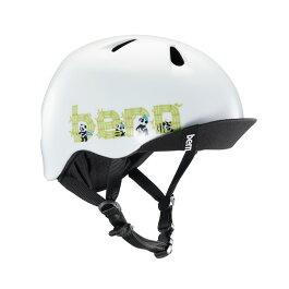 bern(バーン)ヘルメット【NINO(男の子):Sサイズ/Mサイズ(51.5〜54.5cm)/サテンホワイトパンダロゴ】バイザー/ストライダー自転車子供用キッズ