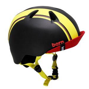bern(バーン) ヘルメット【NINO(男の子) :XSサイズ/Sサイズ(48〜51.5cm) /ブラック イエロー レーシング ストライプ】 バイザー/ ストライダー 自転車 子供用 キッズ