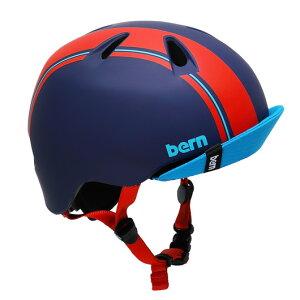 bern(バーン) ヘルメット【NINO(男の子) :Sサイズ/Mサイズ(51.5〜54.5cm) /ブルー レッド レーシング ストライプ】 バイザー/ ストライダー 自転車 子供用 キッズ