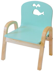 MAMENCHI 木製キッズチェア 組立済 クジラ スカイブルー スタッキングチェア 木製イス 幼児イス 子ども用椅子 子ども用イス 木製イス 子供椅子 ベビーチェア