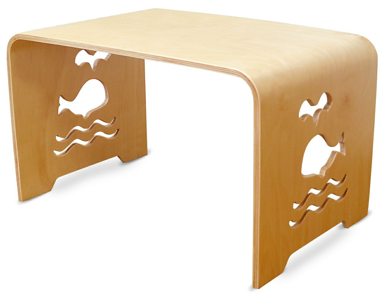 MAMENCHI サイズ大き目な子供用木製テーブル クジラ ナチュラル 組立不要で届いてからすぐに使用ができます。(サイズ:長60×幅38×高さ35cm)テーブルセット子供机 ファースト家具 学習デスク 木製テーブル 机 幼児机 キッズテーブル