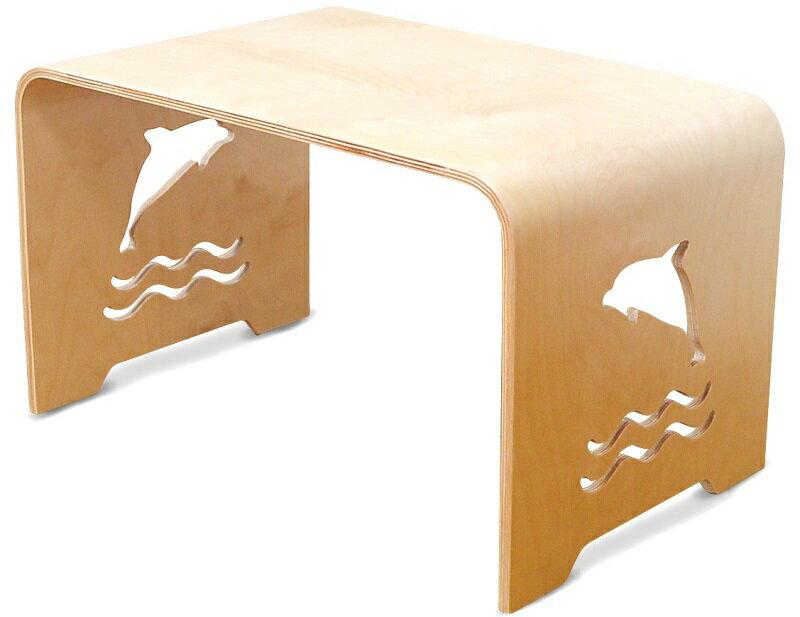 MAMENCHI サイズ大き目な子供用木製テーブル イルカ ナチュラル 組立不要で届いてからすぐに使用ができます。(サイズ:長60×幅38×高さ35cm)テーブルセット子供机 ファースト家具 学習デスク 木製テーブル 机 幼児机 キッズテーブル