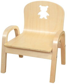 MAMENCHI 木製キッズチェア 組立済 クマ ナチュラルスタッキングチェア 木製イス 幼児イス 子ども用椅子 子ども用イス 木製イス 子供椅子 ローチェア ベビーチェア