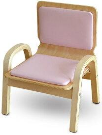 MAMENCHI 木製ふんわりキッズチェア PVCチェア 組立済 ピンクスタッキングチェア 木製イス 幼児イス 子ども用椅子 子ども用イス 木製イス 子供椅子 ローチェア ベビーチェア