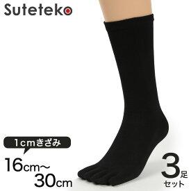 Suteteko 5本指靴下 レギュラー丈 かかと直角仕上げ(キッズ) 3足セット 16cm〜30cm (かかと直角 抗菌防臭 日本製 キッズ 大きいサイズ)