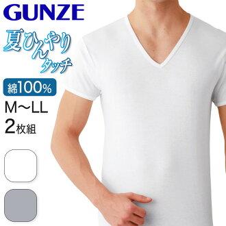 郡是夏天冷冰冰的接觸酷的大衣加工棉100%短袖V頭頸2張組(M·L)(GUNZE男性紳士貼身襯衫t襯衫T恤貼身衣服內部內部襯衫針織白白)