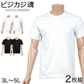 ヘインズ ビジカジ魂 クルーネックTシャツ 2枚組 3L・4L (Hanes BIZICAZI DAMASHII メンズ 綿100% 白 黒)
