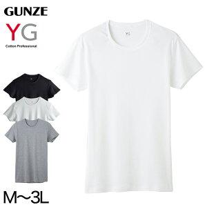 グンゼ YG メンズ半袖シャツ 綿100% M〜3L (男性 紳士 下着 肌着 インナー 半袖 抗菌 防臭 M L LL 3L 白 黒 グレー クルーネック 丸首 大きいサイズ)