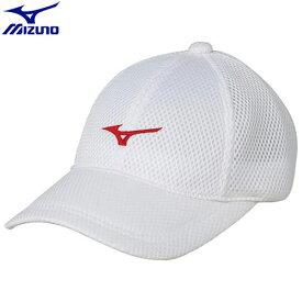 テニスウエア キャップ ミズノ MIZUNO キャップ ユニセックス (76)ホワイト×レッド 62JW850076