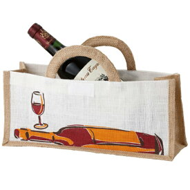 ワインギフトバッグ ファンヴィーノ 麻バッグ1本用 横型×10個セット 7126
