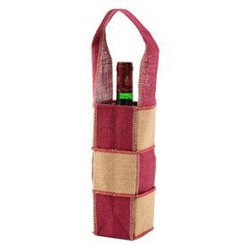 ワインギフトバッグ ファンヴィーノ 麻ワインバッグ 1本用 市松×10個セット 7132