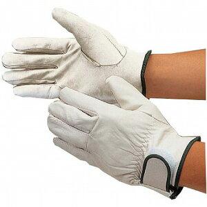 【革手袋・皮手袋】アウトドア アテ無マジック止 革手袋 (白) [10双入] 品番:455 おたふく手袋 (作業用手袋) マジック付 牛表革(クレスト) 本革 やわらかく丈夫でしなやか フィット 細かい作