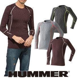 インナー 長袖 HUMMER ハマー クールコンプレッション長袖クルーネック 9025-15 夏用 涼しい クール 空調服におすすめ 夏用インナー 空調服用 熱中症対策 スポーツ アウトドア トレーニングにも