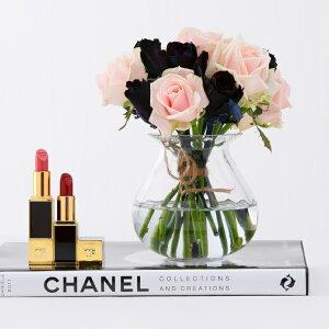 【送料無料】 黒バラとピンクバラ 15本花束+花瓶セット 誕生日 ギフト に バラの花束 送料無料 あす楽対応で12時まで当日発送します 結婚記念日 敬老の日 クリスマス 成人式 バレンタイン