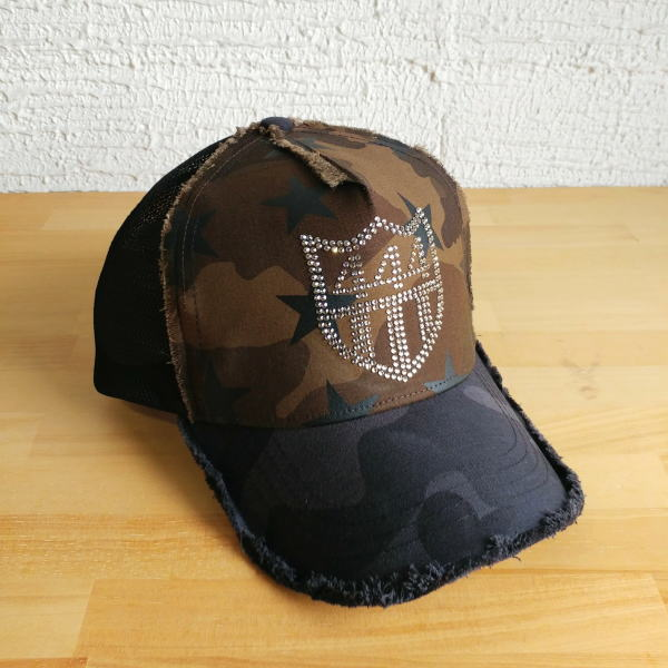 YOSHINORI KOTAKE[ヨシノリコタケ] YKSTARSWAR-444 CAP[OLV CAMO] スワロフスキーキャップ No444(オリーブカモ)メンズレディース444 ナンバー444 メッシュキャップ AHA