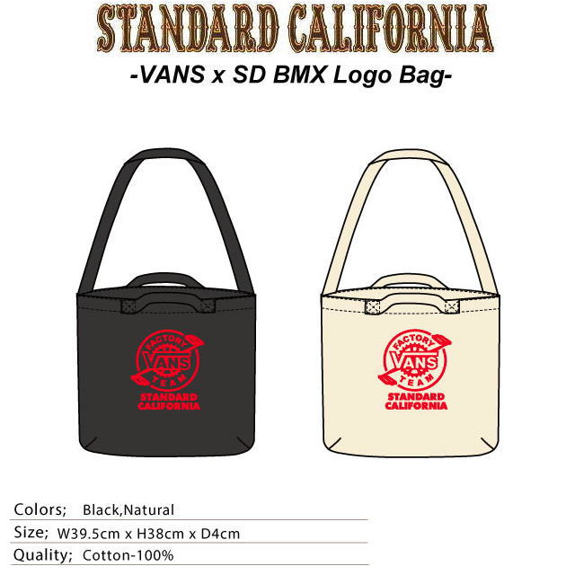 楽天スーパーセール特別価格!!SALE!! VANS × STANDARD CALIFORNIA [バンズ×スタンダードカリフォルニア] BMX LOGO BAG [BLACK,NATURAL] BMXロゴバッグ (ブラック、ナチュラル) AGA