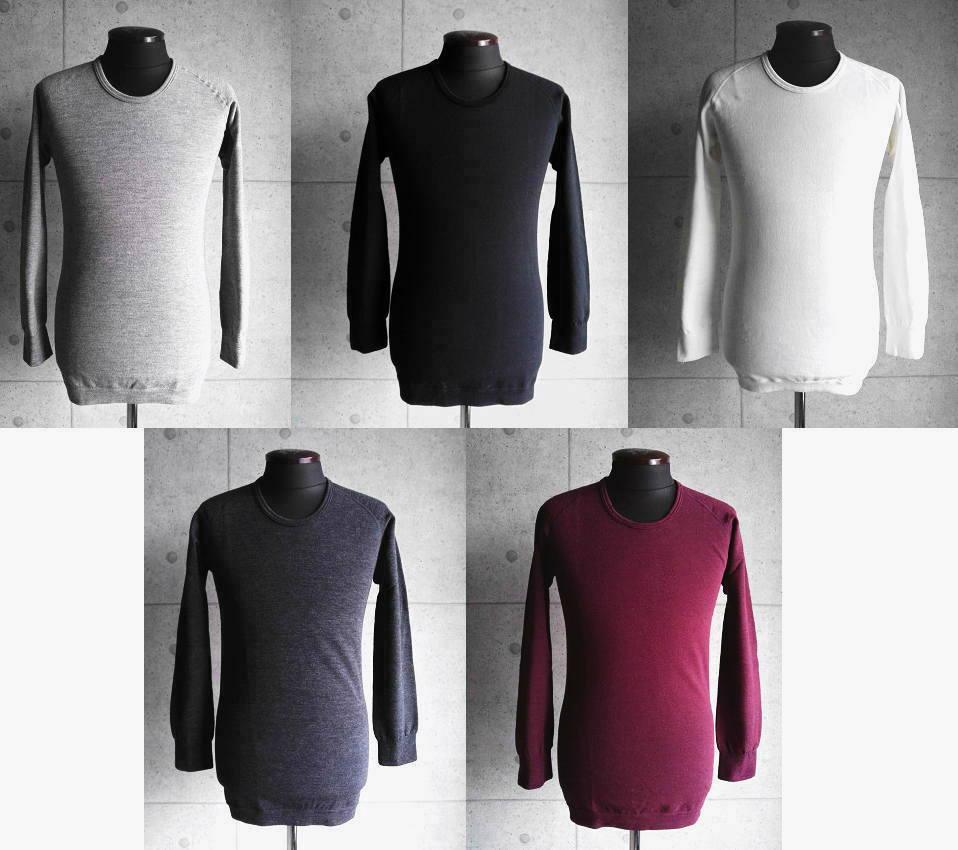 LOCALINA MERIYASU [ロカリナメリヤス] L/S CREW NECK (GRAY・BLACk・WHITE・CHACOAL・BURGANDY) ロングスリーブクルーネック (グレー、ブラック、ホワイト、チャコール、バーガンディ)メンズ、レディース、男女兼用
