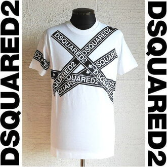 DSQUARED2 [Dis kelp grouper ard] LOGO TAPE TEE [WHITE] logo tape T-shirt (white) S74GD0413 100 AHA