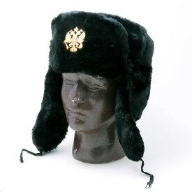 【ロシア帽】【メンズ】イーグルバッジ ブラック 冬の帽子【アパレル・防寒対策】