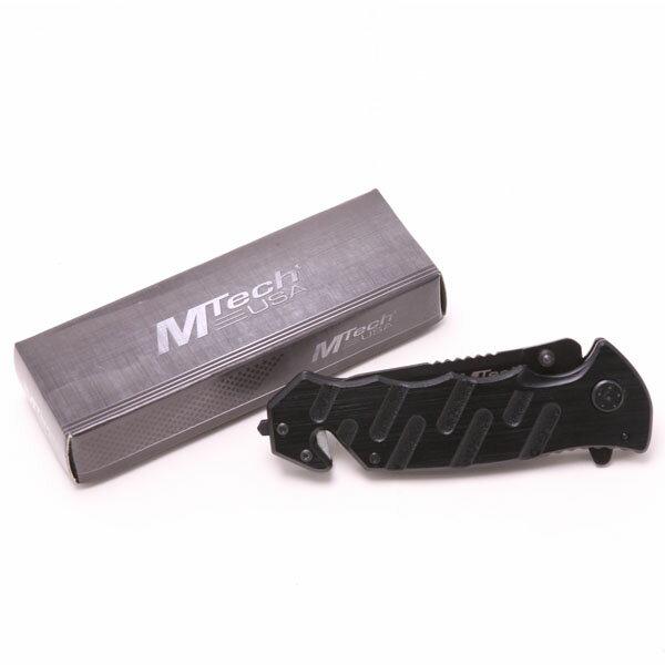 (アウトドア)MTech USA MT-424 レスキュー フォールディングナイフ【エムテック】【折りたたみナイフ】BLACK(黒)