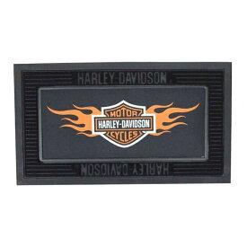 【Harley-Davidson】ハーレーダビットソン フロアラバーマット(フレーム&インナーセット) ロゴ&ファイヤー【インテリア・雑貨】 【184SS25】 ◇ クリスマス プレゼント ギフト