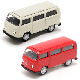 【フォルクスワーゲン】【ミニカー】ワーゲンバス 1972 T2 スケール1/60 プルバック アイボリー レッド【volkswagen VW おもちゃ】