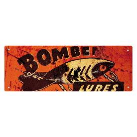【メタル看板】BOMBER LURES メタルサイン 10×27cm 【メタルプレート インテリア 壁掛け 釣り】