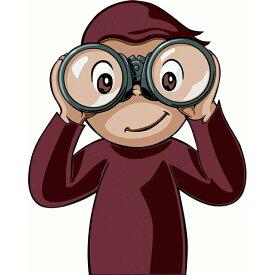 【ステッカー シール】おさるのジョージ 双眼鏡 デカール 約12.5cm×10cm【カーステッカー カートゥーン アニメ キャラ】