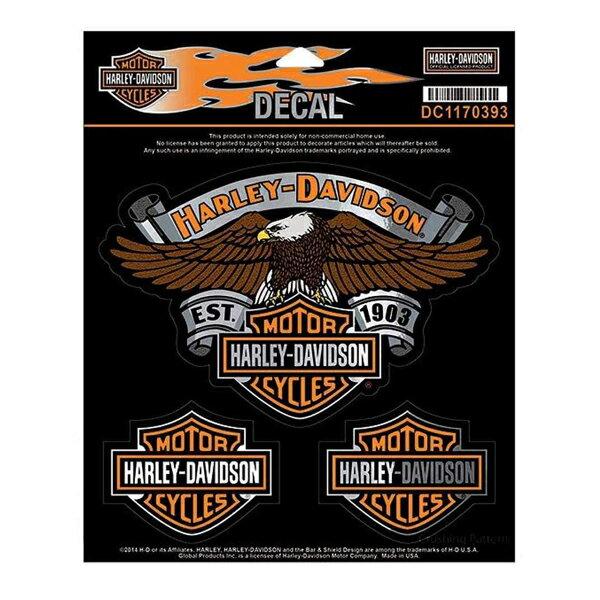 【ハーレーダビッドソン】【ステッカー シール】3種入り イーグルエンブレム デカール 約22cm×18cm【Harley-Davidson 高品質 カーステッカー サイン アメリカ雑貨】