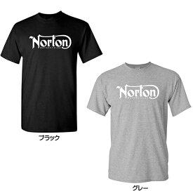 ノートン Norton MOTORCYCLES ロゴ Tシャツ 半袖 ブラック グレー S Mサイズ メンズ ■ アパレル バイク バイカー