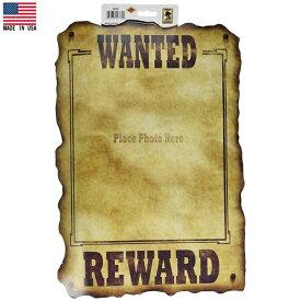 ウエスタン WANTED サイン ペーパーデコレーション 44cm×31cm Made in USA ■ ウォンテッド 指名手配 カウボーイ 紙製 雑貨 パーティーグッズ ハロウィン ハロウィーン
