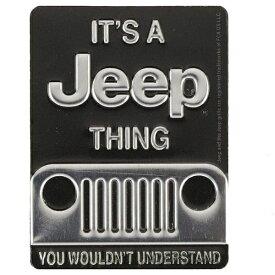 """Jeep ジープ マグネットプレート エンボス ビンテージ調 メタル マグネット """"IT'S A JEEP THING"""" ■ アメリカ雑貨 アメリカン雑貨 アメ車"""