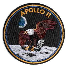 ワッペン アポロ11号 刺繍 パッチ NASA公認 9.2cm×9.2cm アップリケ ■ ワッペン ミリタリーパッチ アメリカン雑貨 小物 カスタム メンズ 子供 キッズ