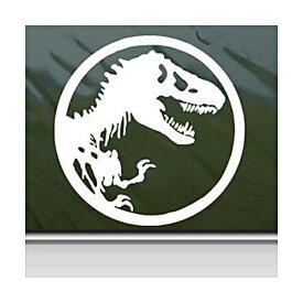 【ステッカー シール】ジュラシックパーク T-レックス 骨シルエット デカール 直径約9cm【Jurassic Park 恐竜 映画 ティラノサウルス 化石 雑貨 サイン カーステッカー】