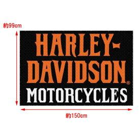 [ハーレーダビッドソン][ラグ 敷物] HARLEY-DAVIDSON MOTORCYCLES スクリプト ラグ 約99cm×150cm ■ インテリア