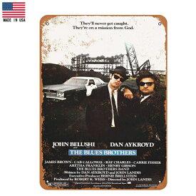 【ブリキ看板】ブルースブラザーズ 1980 ポスター ビンテージ調 25.5cm×18cm【The Blues Brothers インテリア 雑貨 壁掛け ガレージ 車 映画 メイドインUSA ブラック ホワイト】