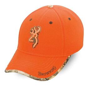 【ブローニング】【帽子 キャップ】BROWNING ロゴ 刺繍 蛍光オレンジ&モッシーオーク柄【アウトドア 銃 ガン ミリタリー ハンティング メンズ シカ】