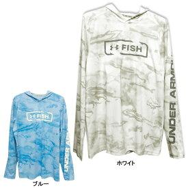 【アンダーアーマー】FISH パーカー Mサイズ ホワイト ブルー【UNDER ARMOUR アパレル メンズ 薄手 メッシュ】
