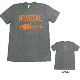 【ノベスキー】【半袖 Tシャツ】チェーンソー NOVESKE ロゴ メンズ S、M、Lサイズ グレー【アパレル メンズ ノベスケ ミリタリー】