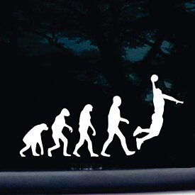 【ステッカー シール】バスケ 進化論 デカール 約9.5cm×約19cm【動物 ジョーク バスケットボール ダンクシュート 面白い 雑貨 小物 サイン】