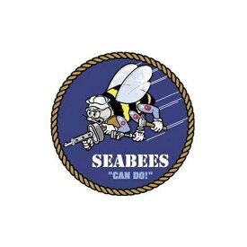 【ステッカー シール】SEABEES アメリカ海軍 建設工兵隊デカール 直径約6cm【ミリタリー 米海軍 US NAVY SEABEES 雑貨 サイン】