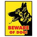 【ステッカー シール】BEWARE OF DOG 猛犬注意 シェパード デカール 約12.5cm×約10cm【アメリカ 警告 犬 高品質 雑貨…