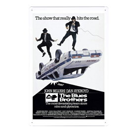 【ブリキ看板】ブルースブラザーズ ムービー ポスター 30cm×20cm【The Blues Brothers インテリア 雑貨 壁掛け ガレージ 車 映画 ブラック ホワイト】